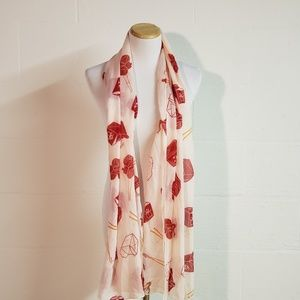 Charming Charlies Pink Red Chinese Food Scarf